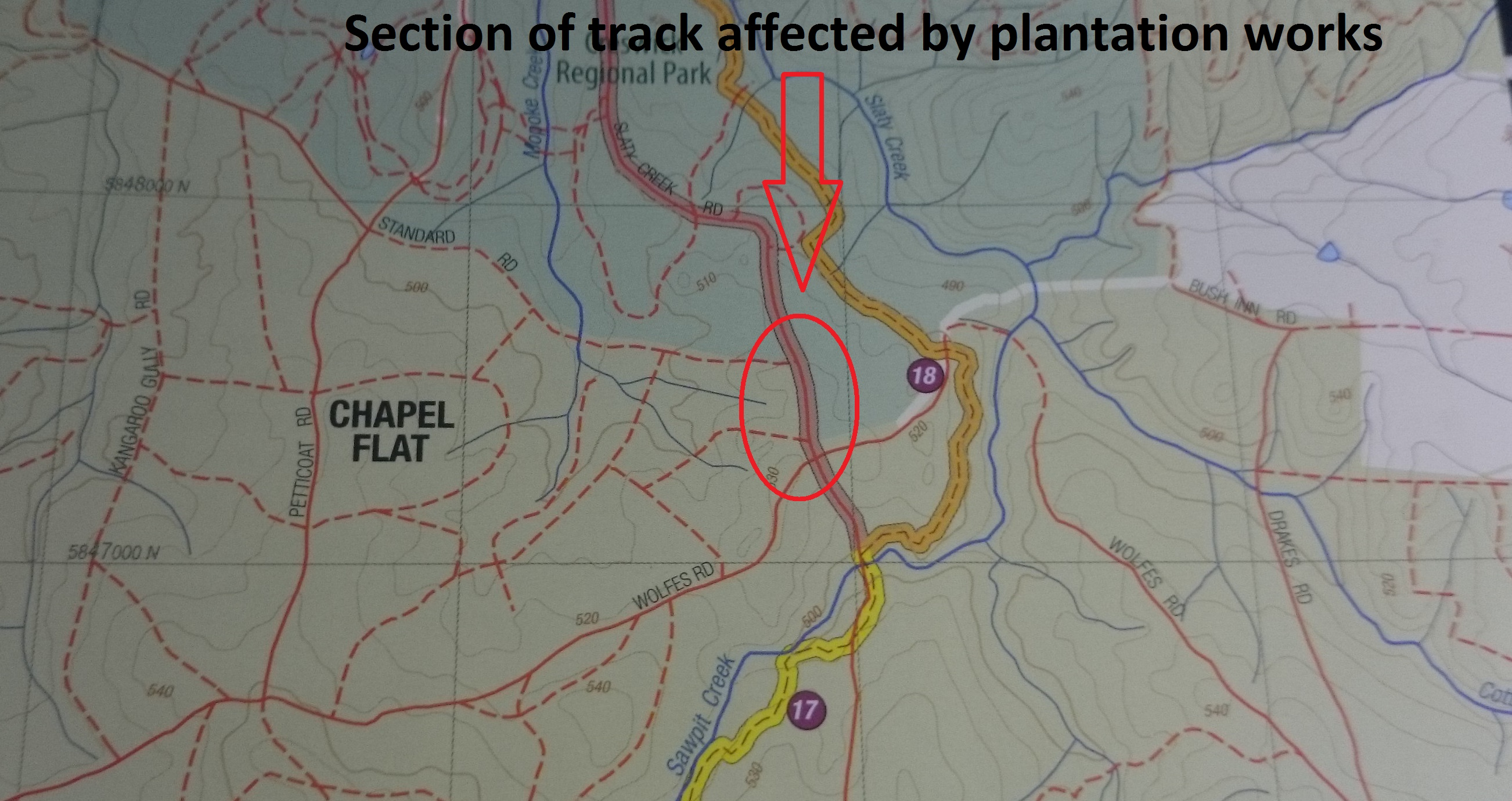 Section of track on Slatey Creek Road closed on Wednesday 21st Sep